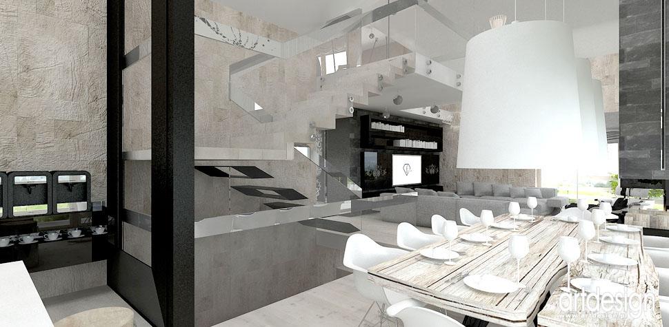 oryginalny design wnetrz projekty dom salon jadalnia