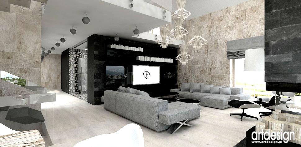 architektura wnetrz salon dom w gorach elementy folk