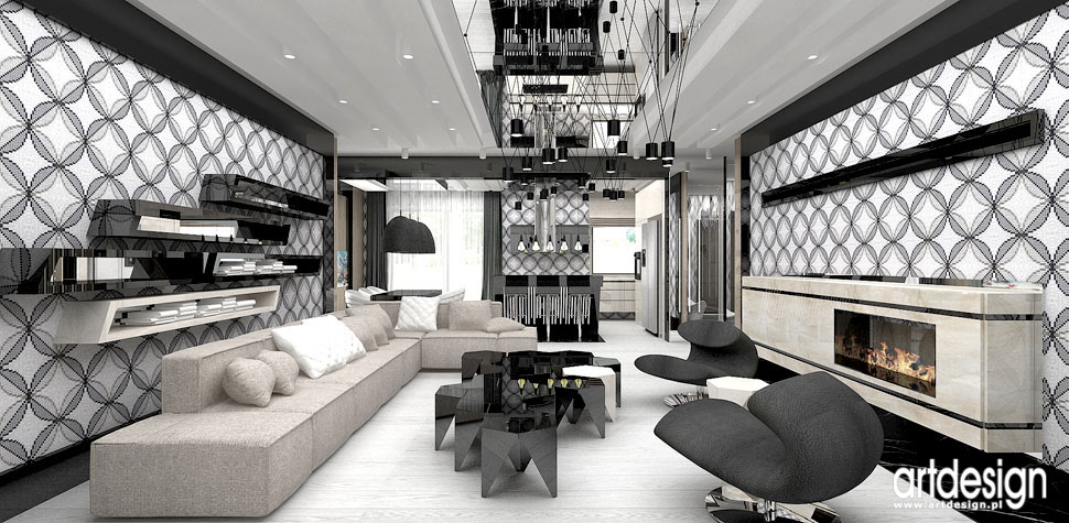wnetrza domu ekskluzywny design salon z kominkiem