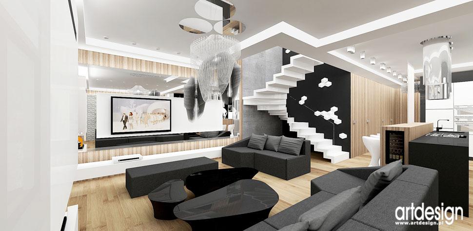 projekty wnetrza unikalny design pokoj dzienny