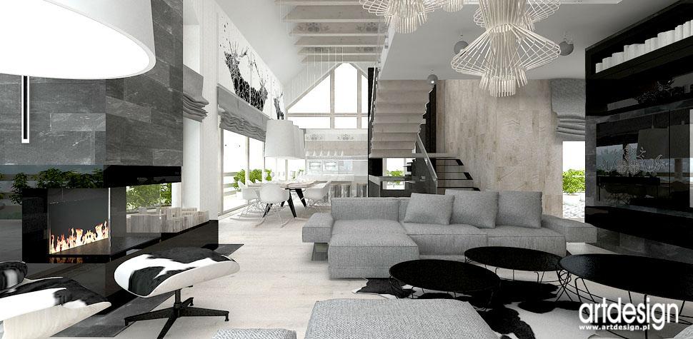 wnetrza domu w gorach w styl nowoczesny z elementami vintage
