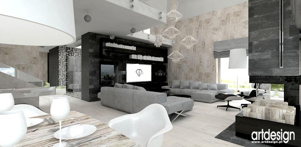 projekty wnetrza domu antresola elementy ludowe w salonie