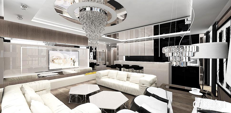 projekt wnetrza luksusowego apartamentu salon i kuchnia