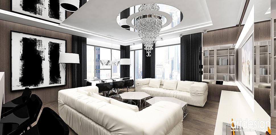 wnetrza projekty apartamentow salonow
