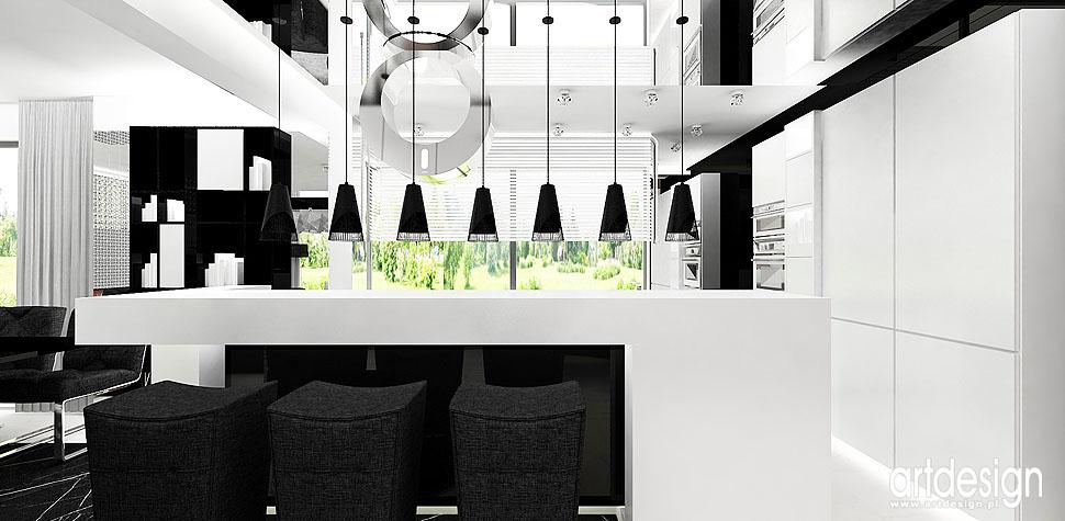 luksusowa aranżacja wnętrz kuchnia biała czarna
