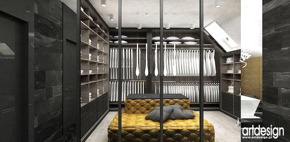 sypialnia z garderobą wnętrza aranżacje
