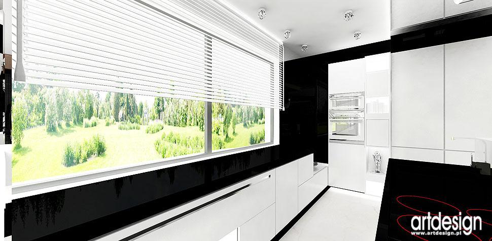 czarno biała kuchnia wnętrza nowoczesne luksusowe projekt