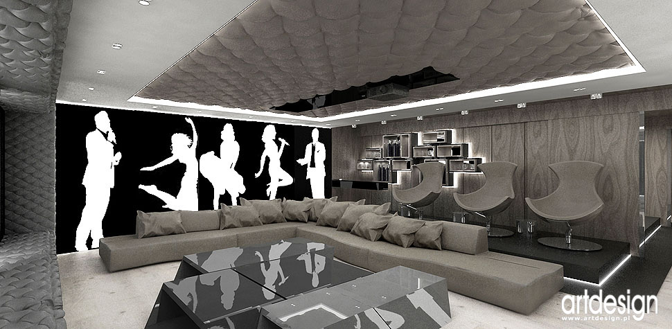 kino domowe rekreacja barek luksusowe wnętrza projekt