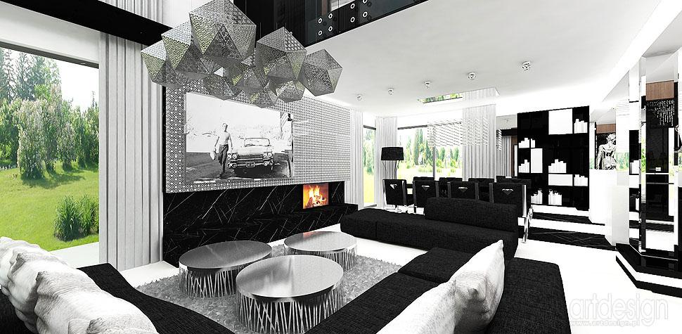 salon kominek wnętrza luksusowe czarno białe