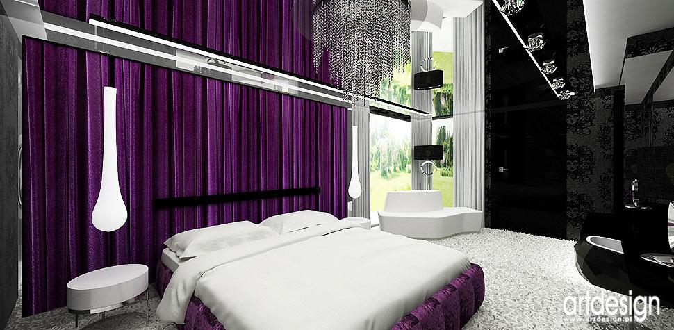 sypialnia aranżacja wnętrz fuksja biała czarna