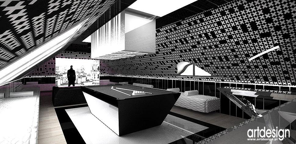 architektura wnętrz dom kino domowe bilard nowoczesne