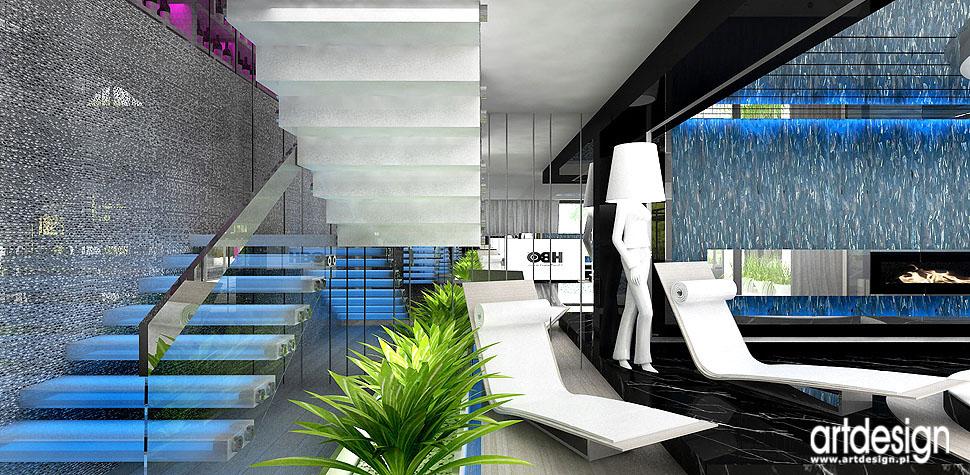 spa design schody szklane luksusowe projekty wnętrza