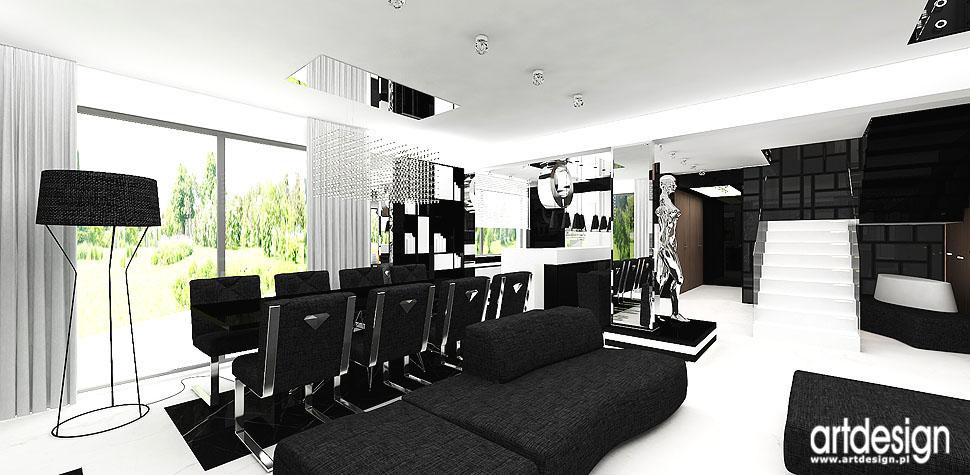 czarno białe wnętrza domów projektowanie
