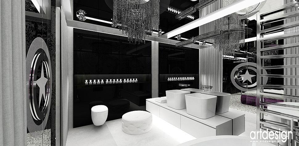 łazienka bialo czarna wnętrza