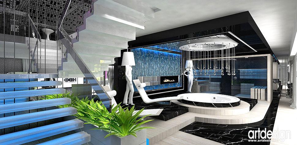 sauna jacuzzi wnętrza domowe spa kominek strefa relaksu aranżacje