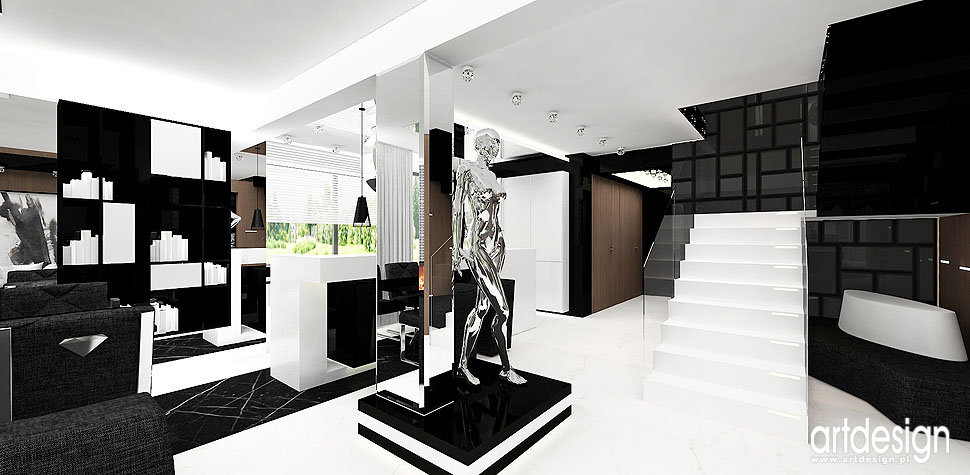 architektura wnętrz dom czarno białe wnętrza