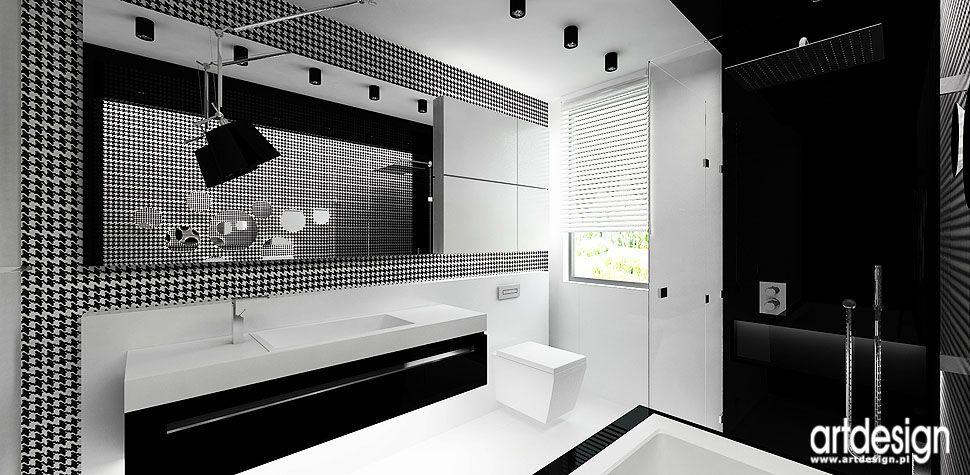 łazienka czarno biała wnętrza design aranżacje