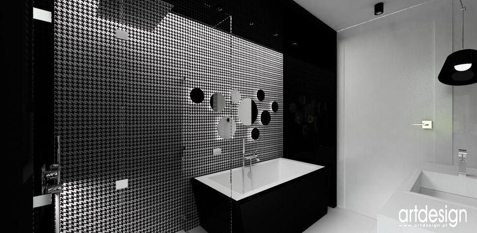 wnętrza czarno białe lazienka projekt