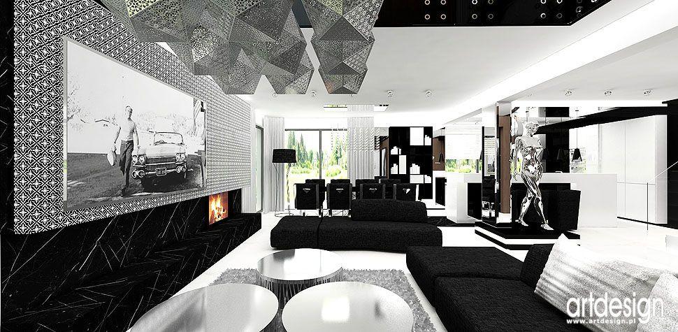 czarno białe wnętrza projekty wnętrz salon
