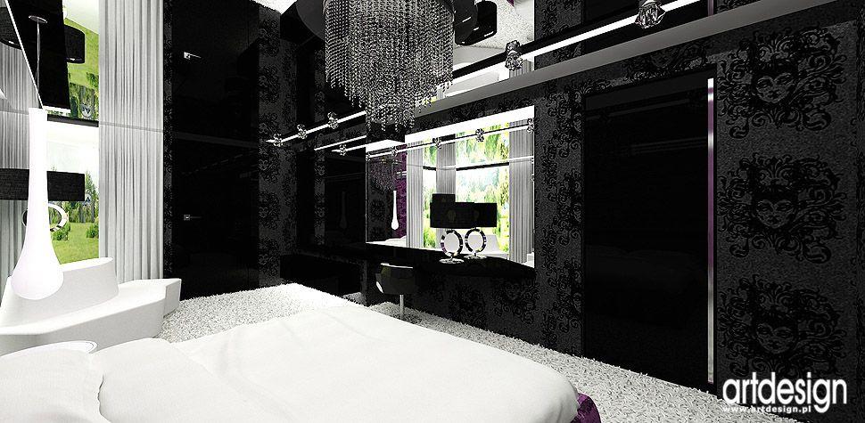 sypialnia bialo czarne wnętrza projektanci wnętrz