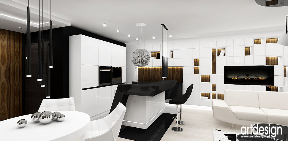 aranżacja salon kuchnia wnętrza