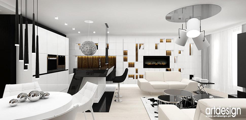 nowoczesne mieszkanie salon z kuchnią