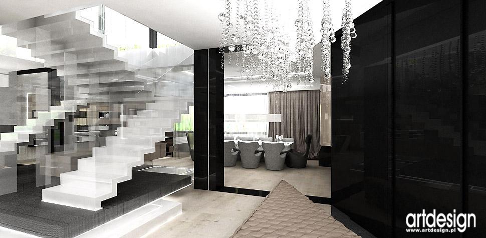nowoczesne schody białe dywanowe