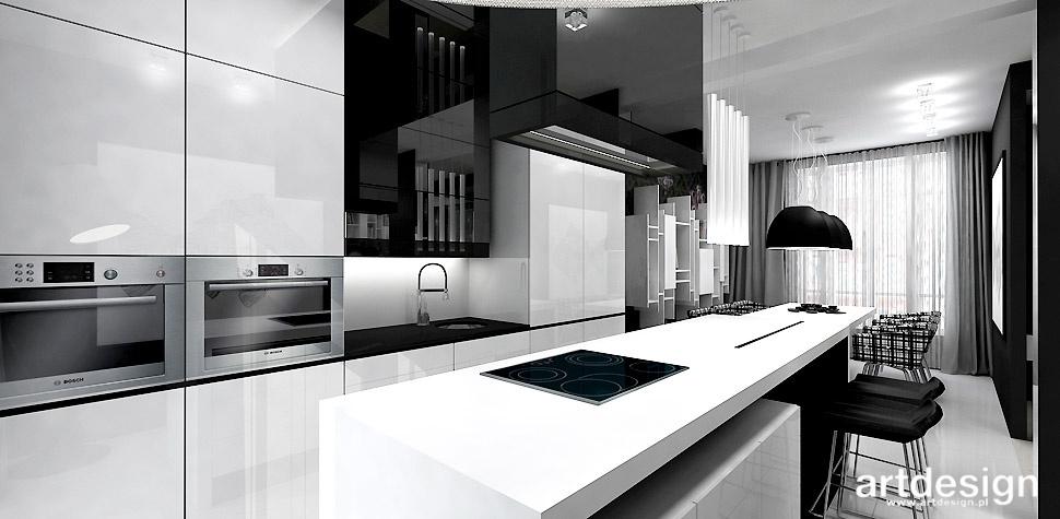 nowoczesna kuchnia biało czarna