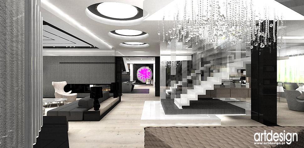 luksusowe wnętrza domów hol salon