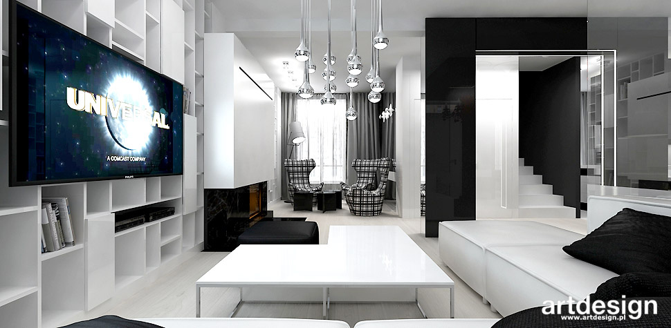 czarno białe wnętrza salon