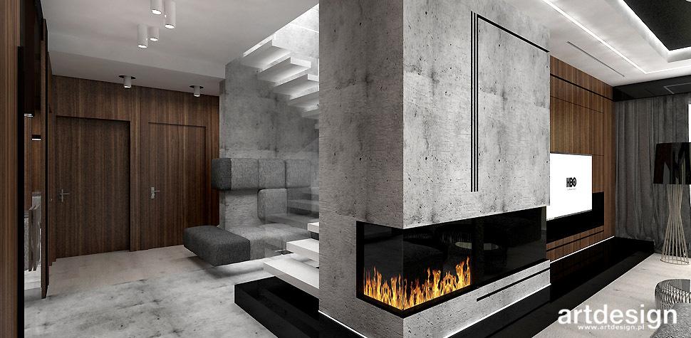 nowoczesny dom z kominkiem