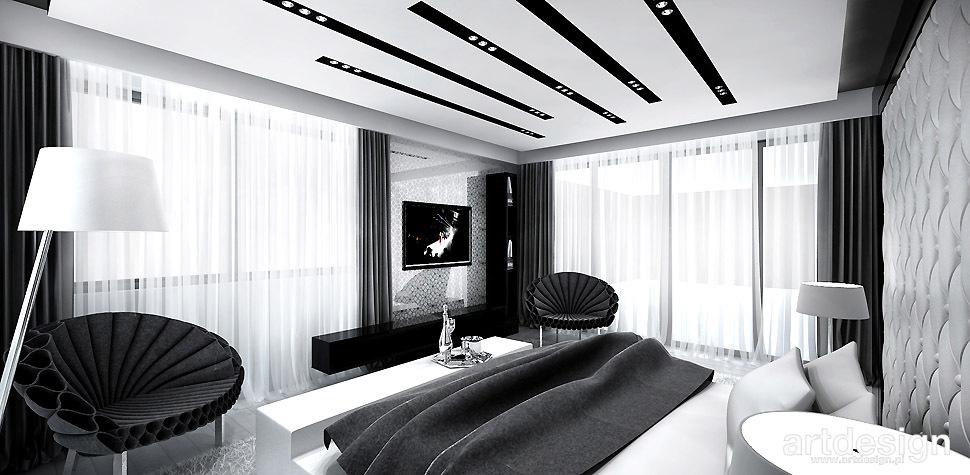 sypialnia biało-czarne wnętrza