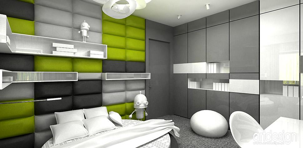 projektanci wnętrz zielono-szary pokój