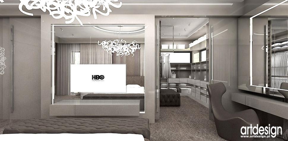 sypialnia z garderobą aranżacje wnętrza