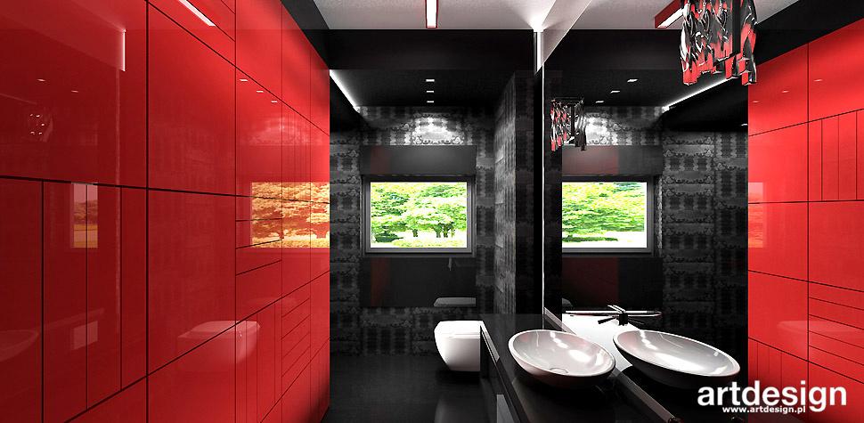 łazienka czerwono czarna