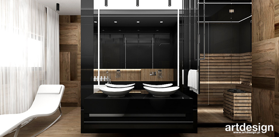 łazienka z sauna projektowanie wnętrz