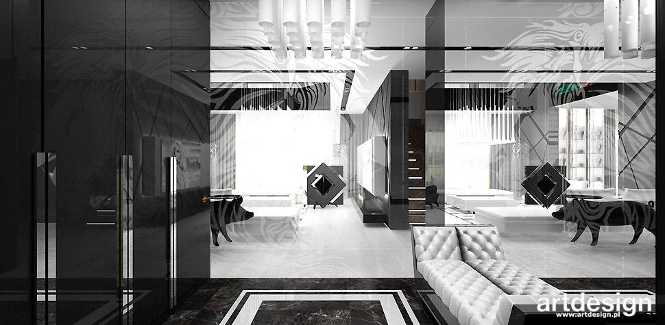 czarno białe wnętrza projekty