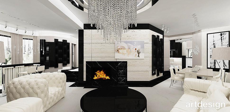 salon z kominkiem wnętrza