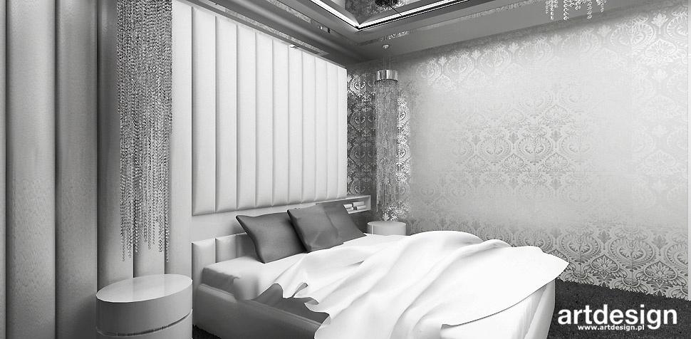 biało szara sypialnia aranżacja