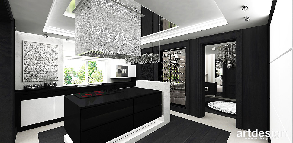 elegancka kuchnia czarno biała
