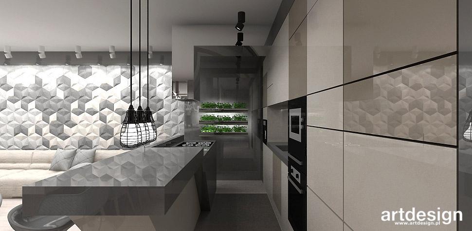 beżowo szara kuchnia projekt