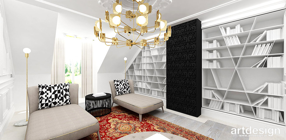 domowa biblioteka wnętrze aranżacja