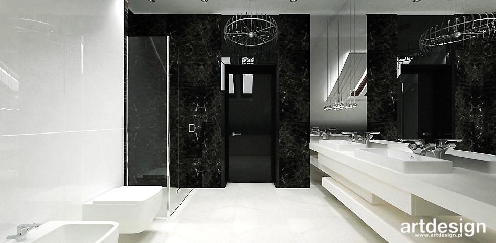 biało czarna łazienka projekt domu