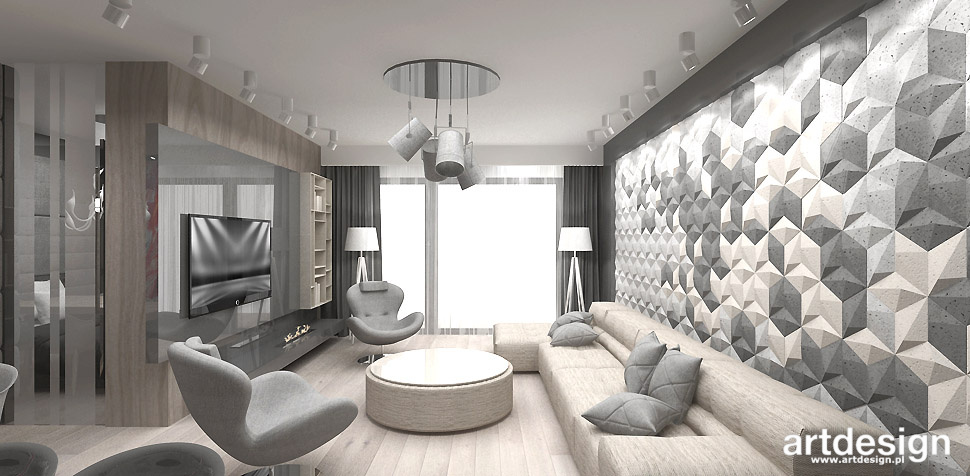 salon szaro bezowy projekt wnętrza