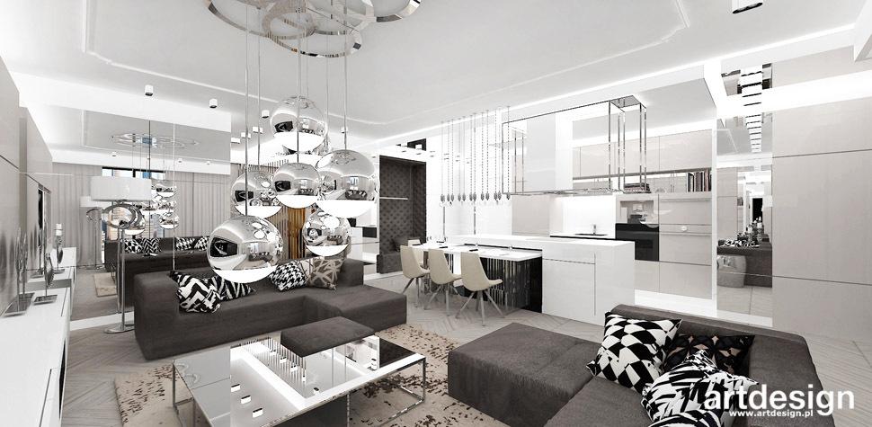 projektowanie wnetrz salon z kuchnia