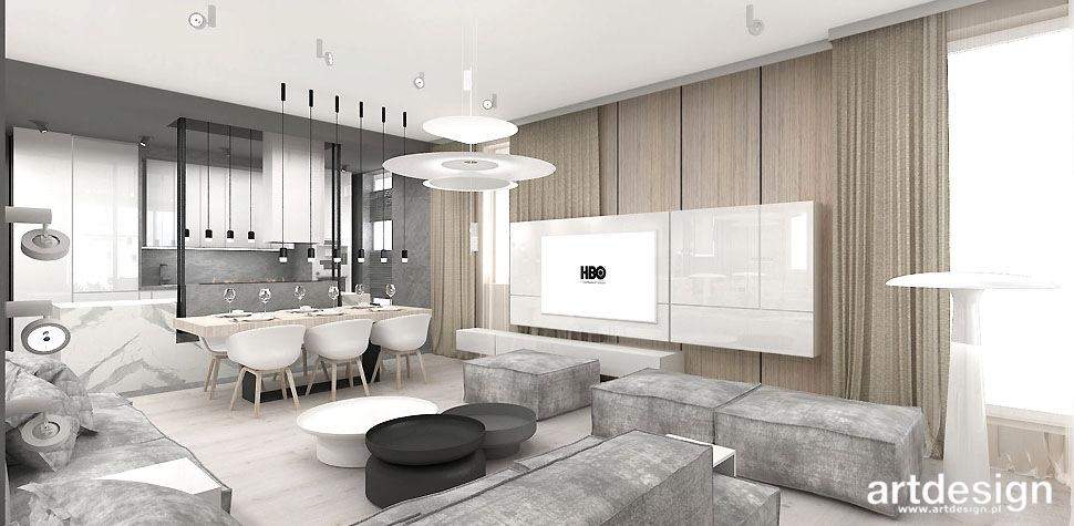 nowoczesny salon z kuchnia