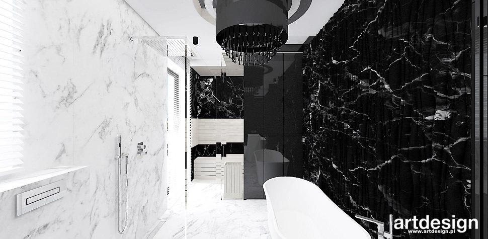 czarno białe łazienki