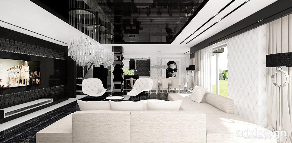 czarno białe wnętrza