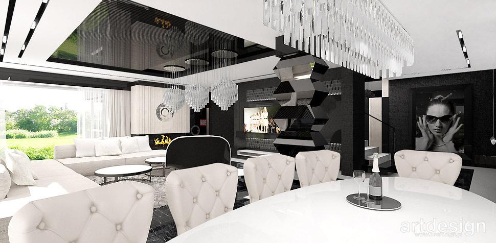 luksusowy salon z jadalnia