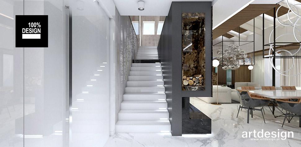 białe schody projekty wnętrz